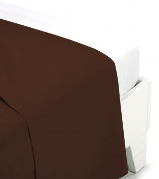 Lenzuolo Sopra  Tinta Unita Botticelli Home Vari Colori Singolo Cotone GIOSAL-Marrone