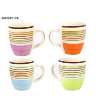 Tazza Mug Da Latte Colazione 350cc Porcellana Colori Assortiti GIOSAL