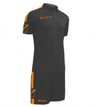 Kit Play Calcio Sport GIVOVA Abbigliamento Sportivo Uomo Calcistico GIOSAL-Nero/ArancioFluo-M