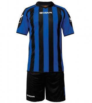 Kit Supporter Calcio Sport GIVOVA Abbigliamento Sportivo Uomo Calcistico GIOSAL-Nero/Azzurro-2XS