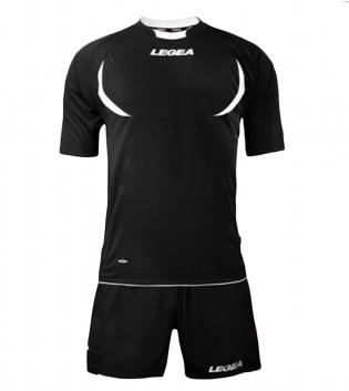 Kit LEGEA Calcio Stoccolma Completo Sportivo Sport Abbigliamento GIOSAL-Nero-Bianco-XS