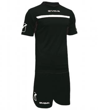 Kit One Calcio GIVOVA Uomo Sport Uomo Bambino Abbigliamento Sportivo Calcistico GIOSAL-Nero/Bianco-3XS