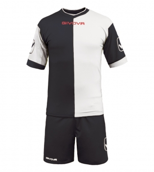 Kit Combo GIVOVA Completino Calcio Sport Sportivo Calcetto GIOSAL-Nero/Bianco-M