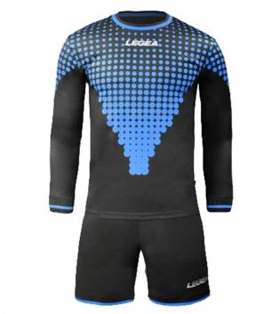 Kit Uomo Calcio Portiere LEGEA Allianz Sport Uomo Bambino Sportivo Abbigliamento GIOSAL-Nero-BluChiaro-3XS