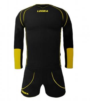 Kit Uomo Calcio LEGEA Lione Completino Calcetto Squadra Abbigliamento Sport GIOSAL-Nero-Giallo-XS