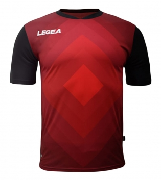 Maglia Calcio Sport LEGEA Norimberga Manica Corta Abbigliamento Sportivo GIOSAL-Nero-Granata-S