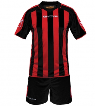 Kit Supporter Calcio Sport GIVOVA Abbigliamento Sportivo Uomo Calcistico GIOSAL-Nero/Rosso-2XS