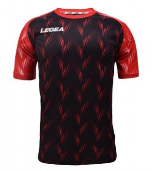 Maglia Calcio Sport LEGEA Girona Manica Corta Abbigliamento Sportivo GIOSAL-Nero-Rosso-S