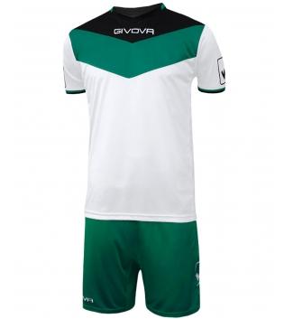 Kit Calcio GIVOVA Campo Completino Football Sport Sportivo Uomo Bambino GIOSAL-Nero/Verde-3XS