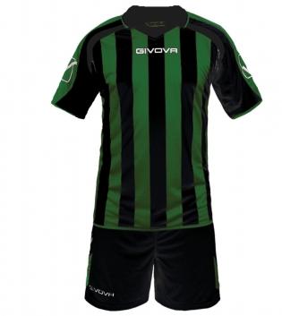 Kit Supporter Calcio Sport GIVOVA Abbigliamento Sportivo Uomo Calcistico GIOSAL-Nero/Verde-M