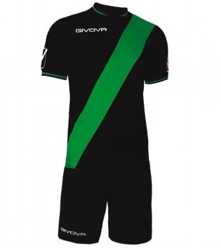 Kit Plate Calcio Sport GIVOVA Abbigliamento Sportivo Calcistico Uomo GIOSAL-Nero/Verde-M