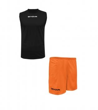 Outfit Givova Completo Bermuda Nero Arancio Fluo Givova One Shirt Smanicato Donna Uomo Unisex GIOSAL
