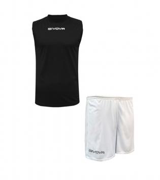 Outfit Givova Completo Bermuda Givova One Shirt Nero Bianco Smanicato Donna Uomo Unisex GIOSAL