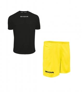 Outfit Givova Completo Unisex Pantaloncini T-Shirt Givova One Nero Giallo Uomo Donna Bambino GIOSAL