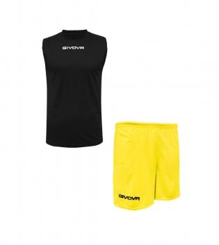 Outfit Givova Completo Bermuda Givova One Shirt Smanicato Nero Giallo Donna Uomo Unisex GIOSAL