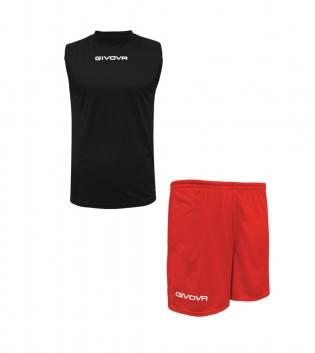 Outfit Givova Completo Bermuda Nero Rosso Givova One Shirt Smanicato Donna Uomo Unisex GIOSAL
