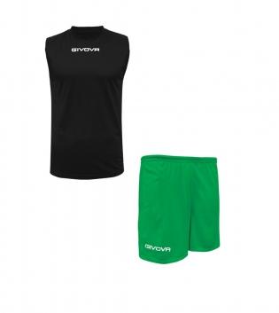 Outfit Givova Completo Nero Verde Bermuda Givova One Shirt Smanicato Donna Uomo Unisex GIOSAL