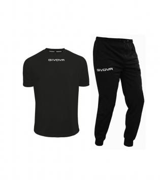 Outfit Givova Uomo Donna Bambino Completo Tuta T-Shirt Pantalone Givova One Nero Unisex GIOSAL