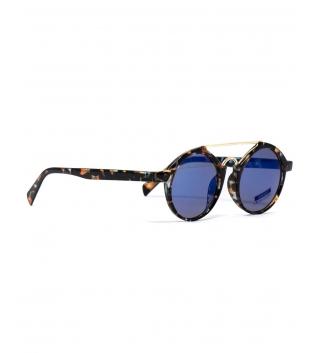 Occhiali Unisex Sunglasses Vetro Sumato Rotondi Animalier Casual Marroni Uomo Donna GIOSAL