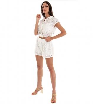 Outfit Donna Completo Top Tinta Unita Bianco Shorts Sangallo Elastico  GIOSAL