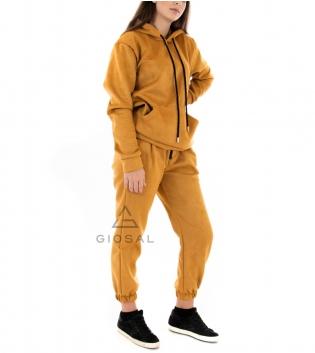 Completo Donna Tuta Camoscio Tinta Unita Senape Felpa Pantalone Cappuccio Elastico Coulisse GIOSAL