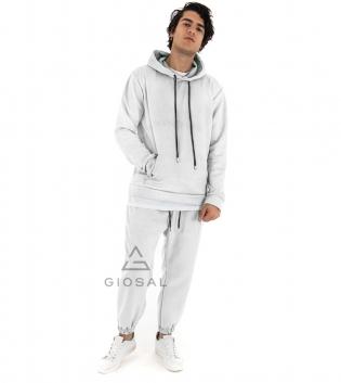 Completo Uomo Tuta Camoscio Tinta Unita Bianco Acqua Felpa Pantalone Cappuccio Elastico Coulisse GIOSAL