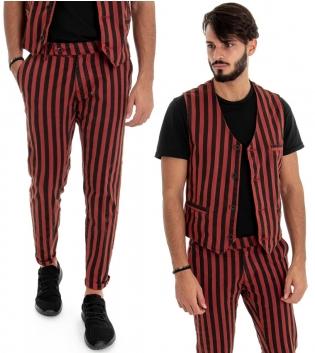 Outfit Uomo Completo Pantaloni Gilet Bicolore Bordeaux Nero Fantasia a Righe Rigato Look Casual GIOSAL