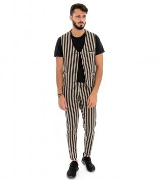 Outfit Uomo Completo Pantaloni Gilet Bicolore Fango Nero Fantasia a Righe Rigato Look Casual GIOSAL