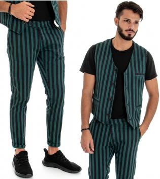 Outfit Uomo Completo Pantaloni Gilet Bicolore Verde Nero Fantasia a Righe Rigato Look Casual GIOSAL
