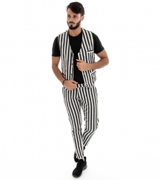 Outfit Uomo Completo Pantaloni Gilet Bicolore Bianco Nero Fantasia a Righe Rigato Look Casual GIOSAL