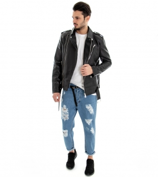 Outfit Uomo Completo Chiodo Ecopelle Nero Giacca Pantalone Jeans Rotture MOD GIOSAL