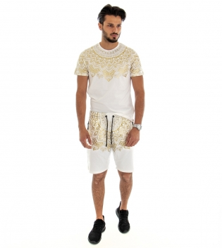 Completo Tuta Sportivo T-shirt Bermuda Stampa Oro Fondo Bianco GIOSAL