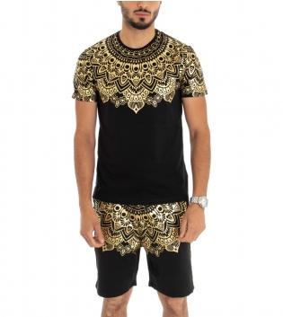 Completo Tuta Sportivo T-shirt Bermuda Stampa Oro Fondo Nero GIOSAL