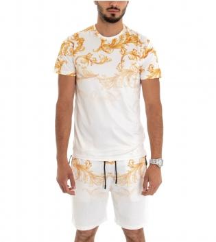 Completo Tuta Sportivo T-shirt Bermuda Stampa Oro Barocco Fondo Bianco GIOSAL