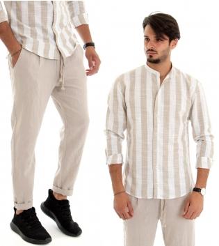 Outfit Uomo Completo Camicia Lino Rigata Pantalone Lino Lungo Tinta Unita Beige Casual GIOSAL