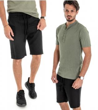Outfit Uomo Completo T-shirt Cotone Verde Bermuda Lino Nero Casual GIOSAL