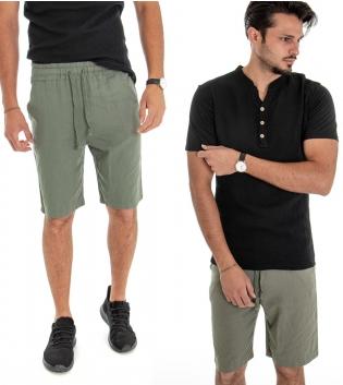 Outfit Uomo Completo T-shirt Cotone Nero Bermuda Lino Verde Casual GIOSAL
