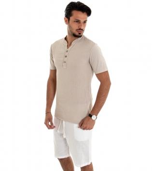 Outfit Uomo Completo T-shirt Cotone Beige Bermuda Lino Bianco Casual GIOSAL