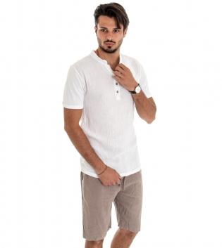 Outfit Uomo Completo T-shirt Cotone Bianca Bermuda Lino Fango Casual GIOSAL
