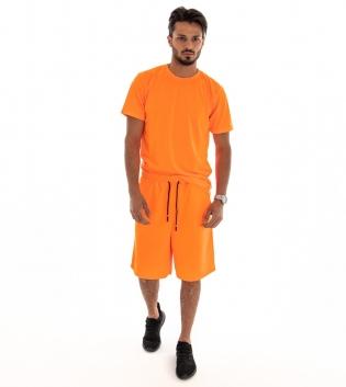 Outfit Uomo Completo Tuta Over T-shirt Bermuda Tinta Unita Arancio Fluo GIOSAL