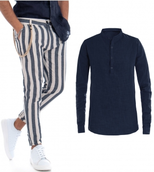 Completo Outfit Uomo Camicia Tinta Unita Blu Puro Lino Pantaloni Rigati Tasca America GIOSAL