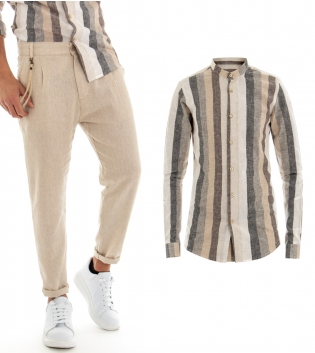 Completo Outfit Uomo Camicia Rigata Beige Lino Pantaloni Tinta Unita Tasca America GIOSAL