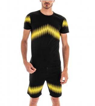 Completo Tuta T-shirt Bermuda Stampa Tinta Unita Nero Casual Elastico GIOSAL