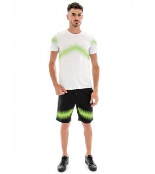 Completo Tuta T-shirt Bermuda Stampa Tinta Unita Bianco Nero Casual Elastico GIOSAL