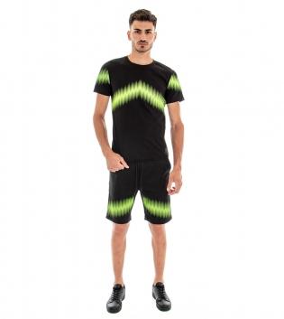 Completo Tuta T-shirt Bermuda Stampa Verde Tinta Unita Nero Casual Elastico GIOSAL