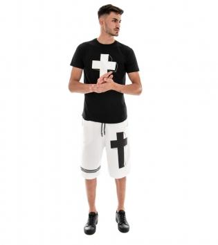 Completo Uomo Outfit T-shirt Nera Bermuda Tuta Bianco Stampa Croce GIOSAL