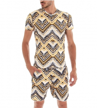 Completo Tuta T-shirt Bermuda Elastico Fondo Bianco Fantasia Oro Casual GIOSAL