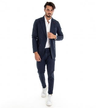 Completo Uomo Giacca Doppio Petto Spilla Pantalone Tasca America Outfit Casual Tinta Unita Blu GIOSAL