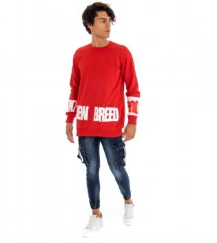 Outfit Uomo Completo Felpa Jeans Skinny Stampa Girocollo Rossa Denim  GIOSAL