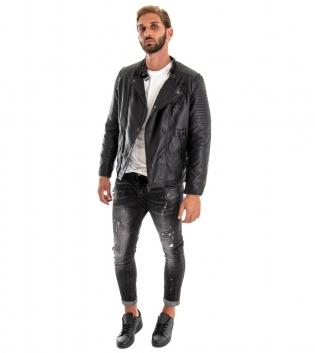 Outfit Uomo Completo Giubbotto Ecopelle Nero  Jeans Grigio GIOSAL